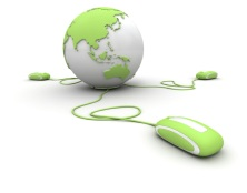 """Green and white Earth Globe connected with three computer """"mouses""""."""